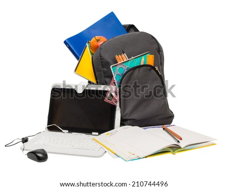 School backpack with school supplies and a tablet computer School backpack notebooks tablet computer ruler