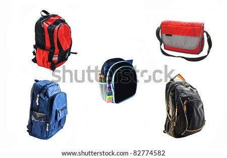 school backpacks is isolated on white background