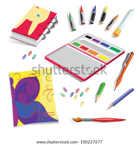 School belongings, including: exercise book, colours, notebook, pen, cereous pieces of chalk, brush, pencils  and paper clips