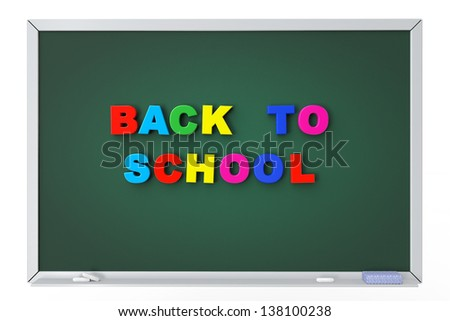School blackboard with back to school sign on a white background