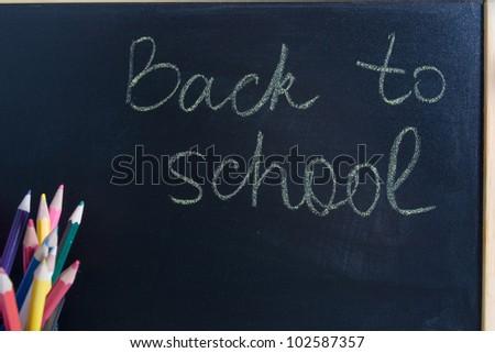 School board and colored pencils
