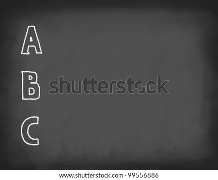 School board with letters written in chalk. Space for text. - stock photo