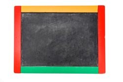 school board with multicolored sidewalls isolated on white background. file contains clipping path