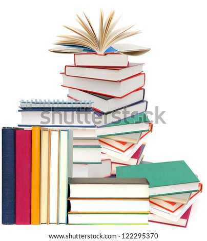 School books collection isolated on a white background