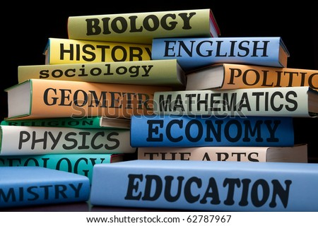 school books on a stack educational textbooks for high school, college or university with text, learning and education leads to knowledge, college books university books high school books study books