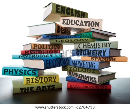 school books on a stack educational textbooks with text education leads to knowledge study books for college high school or university learning leads to wisdom