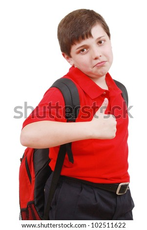 School boy with thumb up