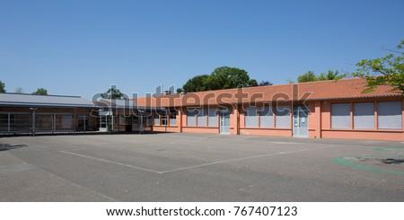 School Building under a blue sky Сток-фото ©