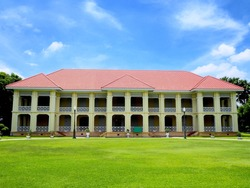 School building with vivid filter