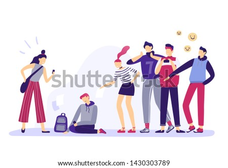 School bullying. Mockery teenagers, teenage aggression and anger teens. Sad and depressed young teenager, children social lonely nerds conflict or bully behavior. Bullying  illustration