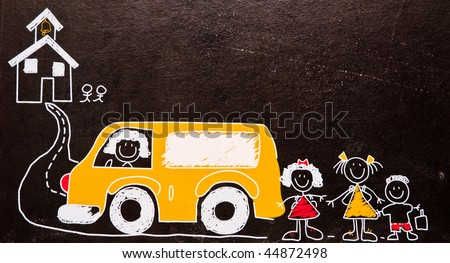 School Bus Drawing School Bus And Kids Drawing on