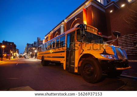 School bus at evening on the streets of Philadelphia downtown Сток-фото ©