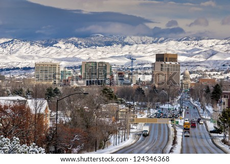 School Bus drives down Capital Boulevard Boise Idaho winter