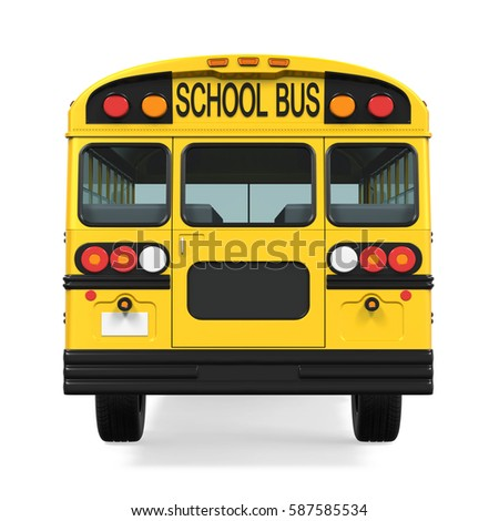 School Bus Isolated. 3D rendering