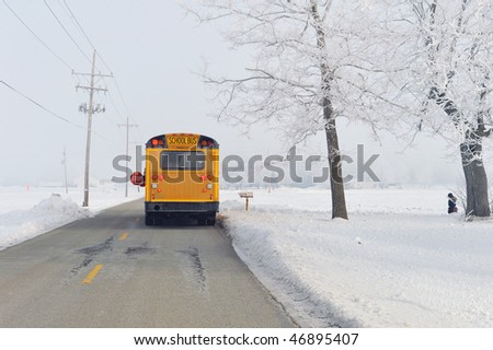 School bus on winter morning in rural area.