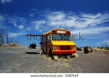 School Bus Used as Concession Stand On North Shore of Maui