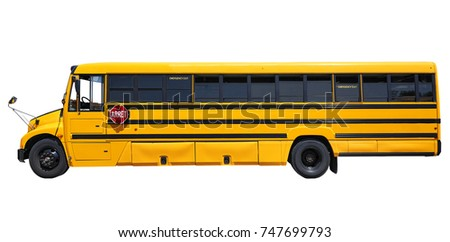School bus waiting for children isolated on white with clipping path