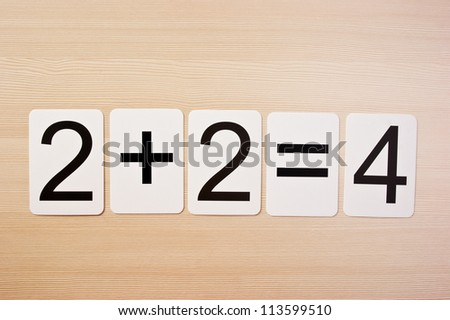 School card  with math problems on the table