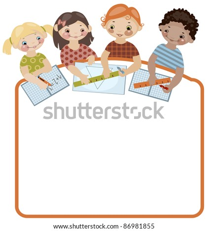 School childhood. Place for your text. classes. raster version