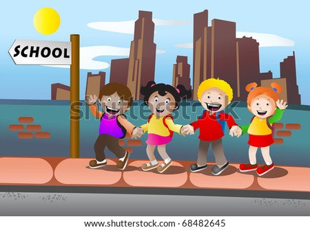 School children back to school cartoon illustration stock photo