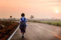 School children go to school in the morning in solitary way.