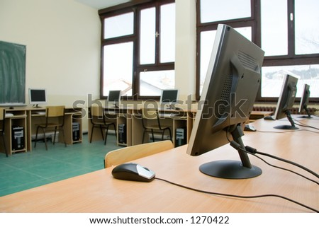 School classroom full with computers - stock photo
