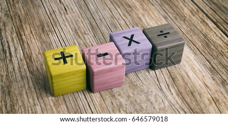 School concept - Math symbols on wooden blocks. 3d illustration