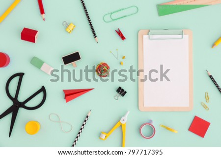 School creative desk with variety of colorful stationery.  Back to school. Top view. Flat lay.