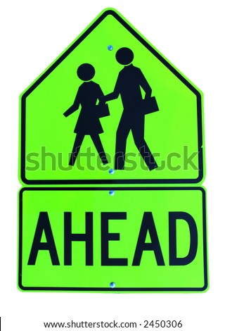 School Crossing Ahead neon green sign on white