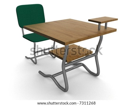 School desk and chair. 3D image