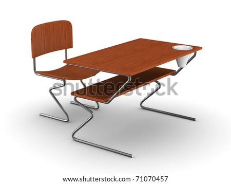 School desk and chair. Isolated 3D image