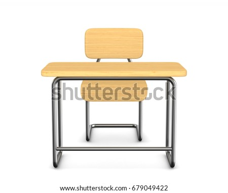 School desk and chair on white background. Isolated 3D illustration