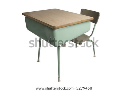 school desk isolated on white