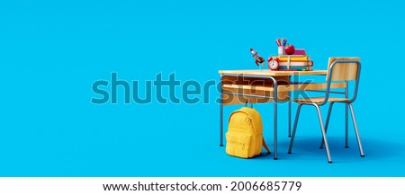 School desk with school accessory and yellow backpack on blue background 3D Rendering, 3D Illustration