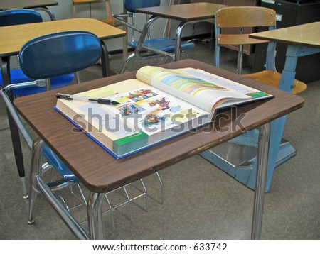 School Desk with Textbook
