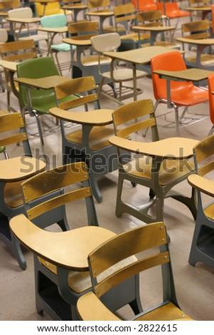 School Desks Classroom - stock photo