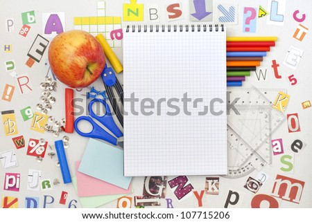School education background with blank exercise book