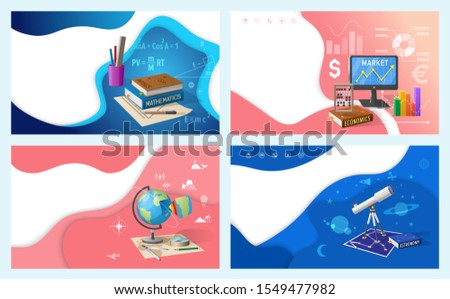 School education, mathematics and economics, geography and astronomy. Textbooks and stationery, graphics and globe, telescope raster illustrations