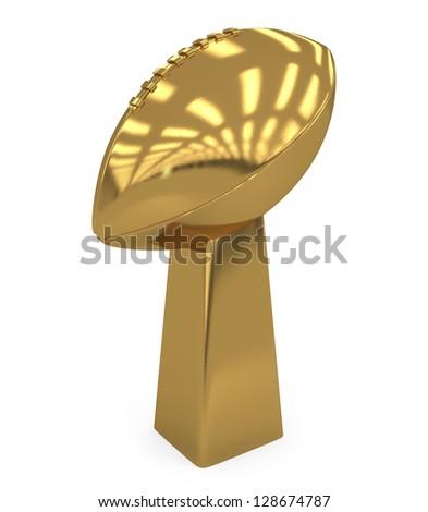 School Footballl Golden Trophy isolated on white - 3d illustration - stock photo