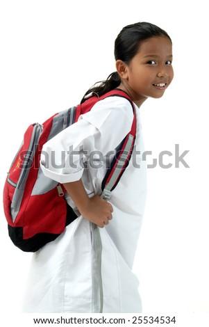 School Girl Bring Bag Isolated