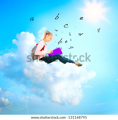 School Girl or Student Sitting on a Cloud and Reading a book . Education Concept. Back to School