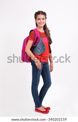 school girl with a backpack...