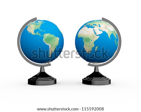 School globe, isolated on white background.