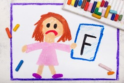 School grades. Sad student with exam or test result. Girl holding report card with F grade. Photo of colorful hand drawing.
