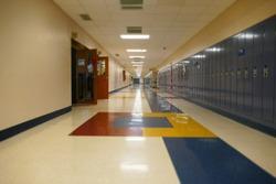 School hallway with miniature effect