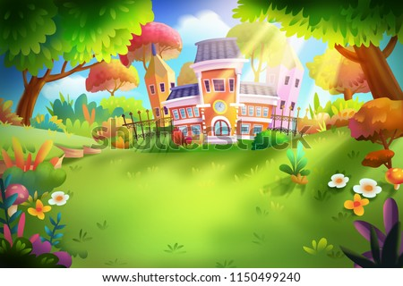 School in the Forest with Fantastic, Realistic Style. Video Game's Digital CG Artwork, Concept Illustration, Realistic Cartoon Style Scene Design