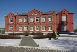 School in the town of Kolomna, Russia in winter