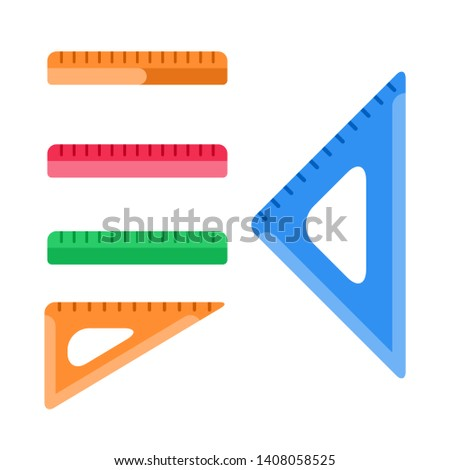 School instruments, rulers vector set. Rulers and triangles isolated on white background.