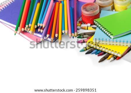 School, isolated, crayons.