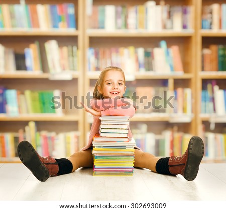 School Kid Education, Child Books, Little Girl Student Sitting with Book Stack